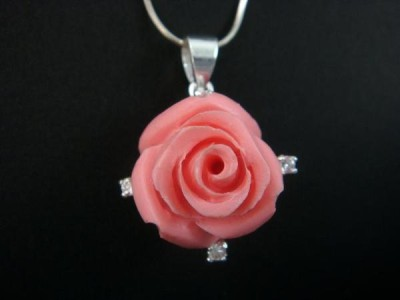 925 Sterling Silver Pendant Flower Pink Rose Coral CZ