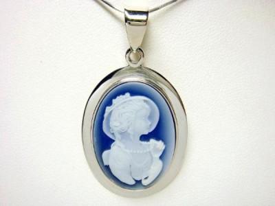 Sterling Silver Portrait Lady Blue Cameo Pendant 5 8gr