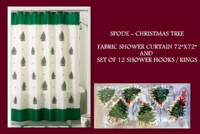 Curtains Ideas christmas curtain fabric : SPODE Holiday Christmas Tree Green Fabric Shower Curtain &amp ...