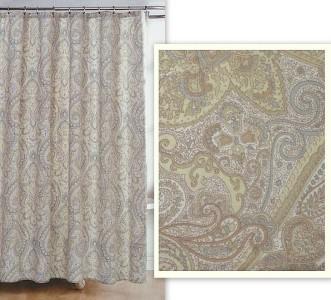 Ralph Lauren Paisley Scroll Floral Muted Blue Tans Fabric Shower Curtain Newnpkg Ebay