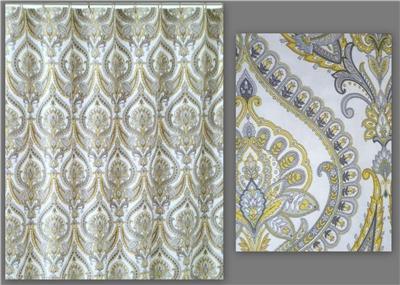 Cynthia Rowley New York Eloise White Gray Yellow Paisley Fabric Shower Curtain Ebay