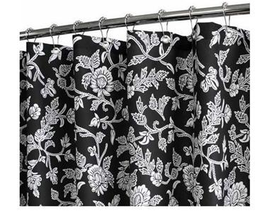 water shed floral swirl flowers black off white fabric 2 in 1 shower curtain ebay. Black Bedroom Furniture Sets. Home Design Ideas