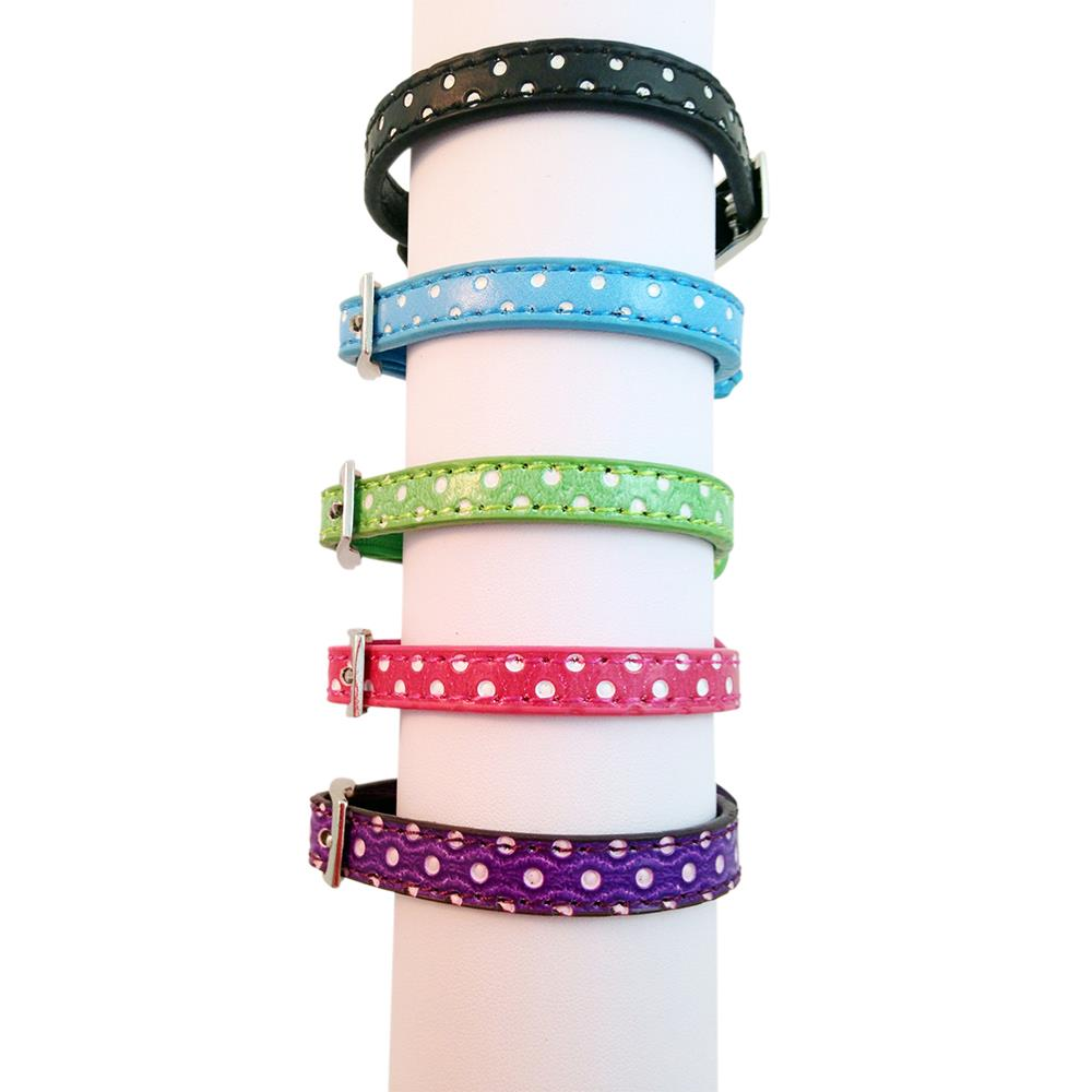 Polka Dot PU Leather Cat Kitten Puppy Pet Collar