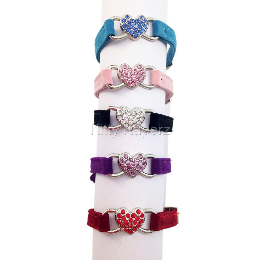 Suede Bling Heart Cat Kitten Puppy Collar