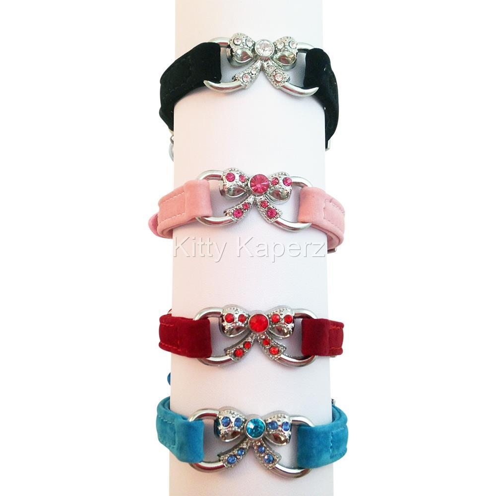 Suede Cat Kitten Puppy Pet Collar with Crystal encrusted Bow