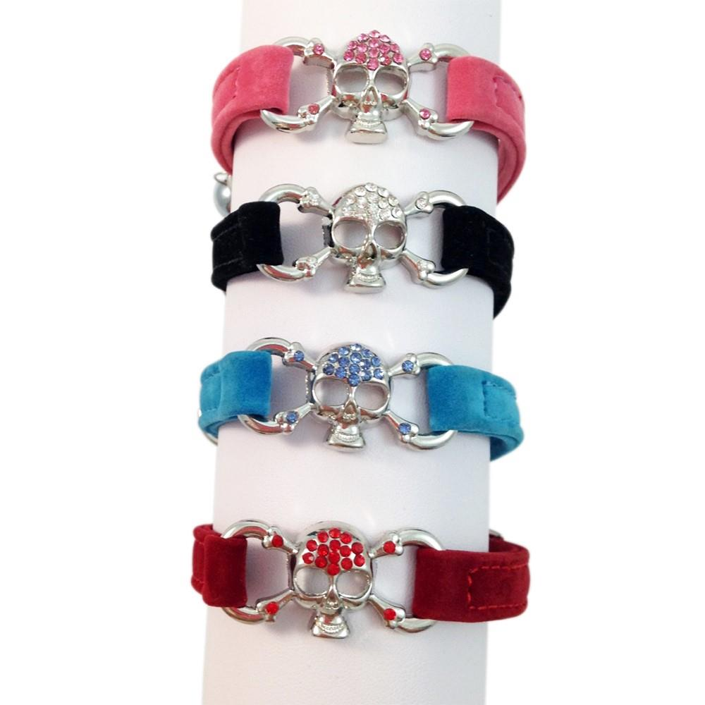 Suede Cat Kitten Puppy Pet Collar with Skull Bling, safety elastic, adjustable