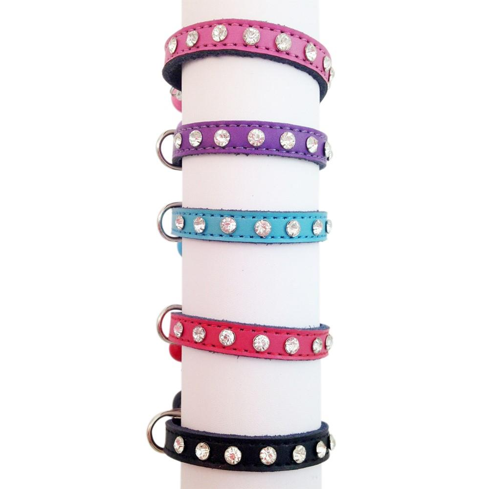 Bling Rhinestone Cat Kitten Puppy Pet Collar Genuine Leather