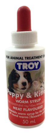 Troy Deworming Worm Treatment Syrup for Puppies and Kittens 50ml