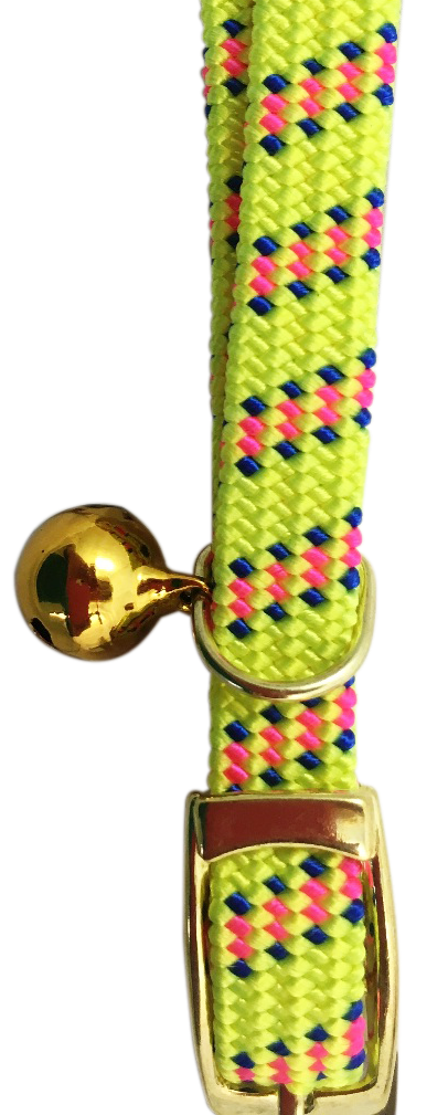 Catwalk adjustable Nylon Dot Stretch Collar Cat Kitten Dog Puppy - Yellow