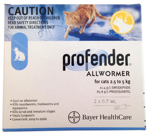 Profender Spot On Worm Treatment for Cats 2.5 - 5kg