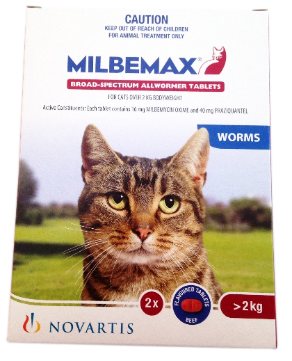 Milbemax Worming Tablets 2 pack for cats 2-8kg