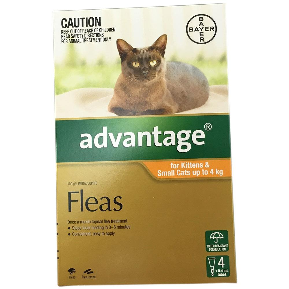 Advantage Fleas Flea Treatment Control for Cats Kittens under 4kg 4pk Bayer