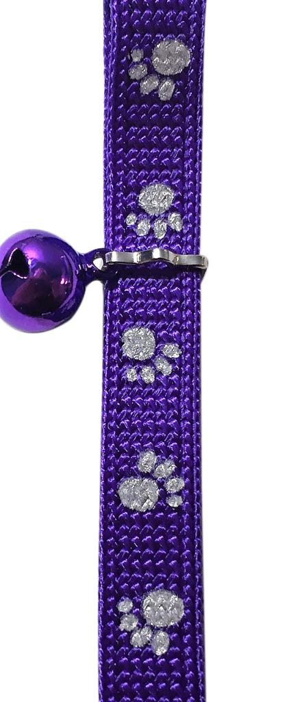 Catwalk Adjustable Nylon Reflective Paw Design Collar Cat Kitten Puppy - Purple