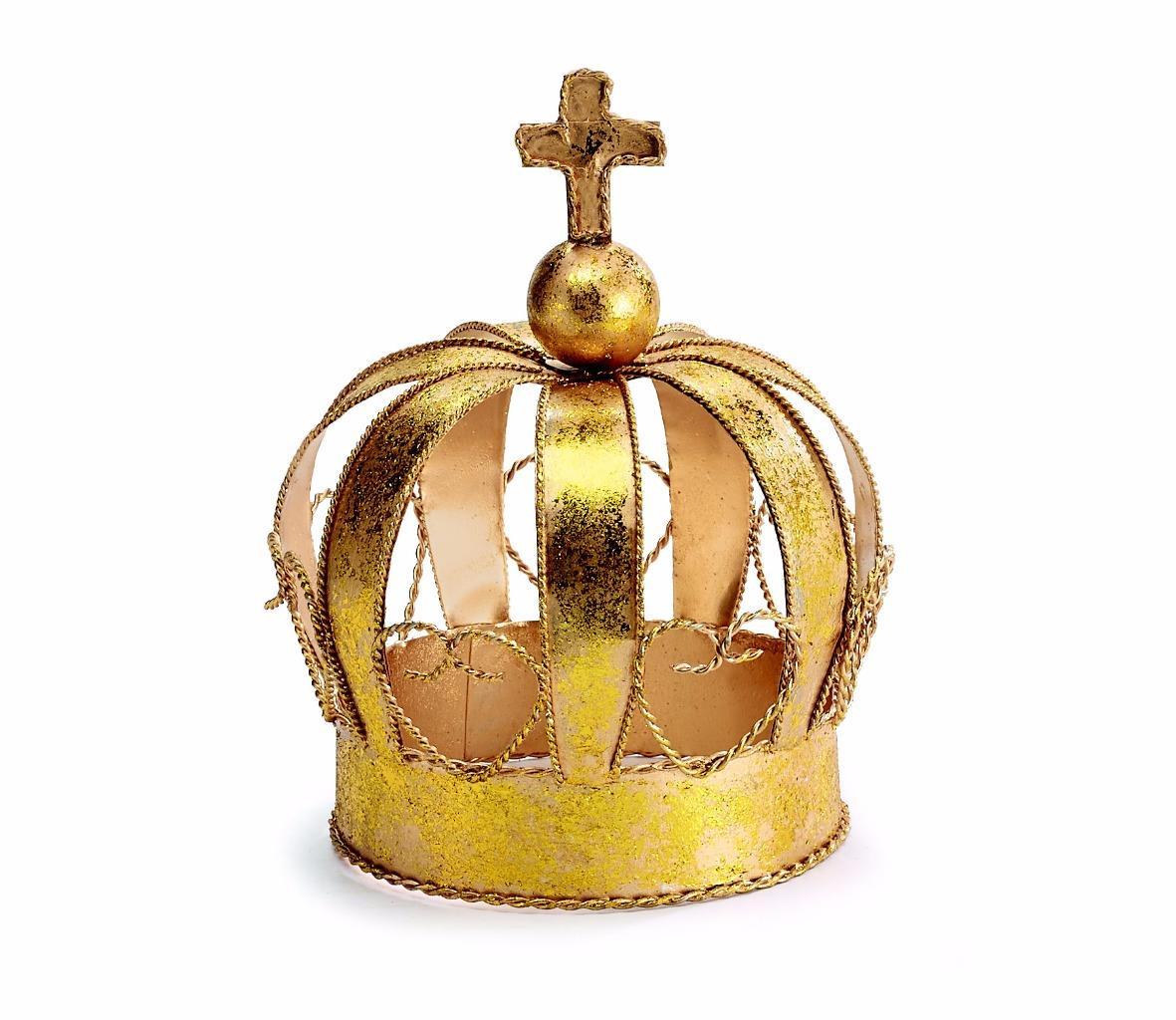 New gold crown metal tabletop christmas decoration small for Christmas crown decoration