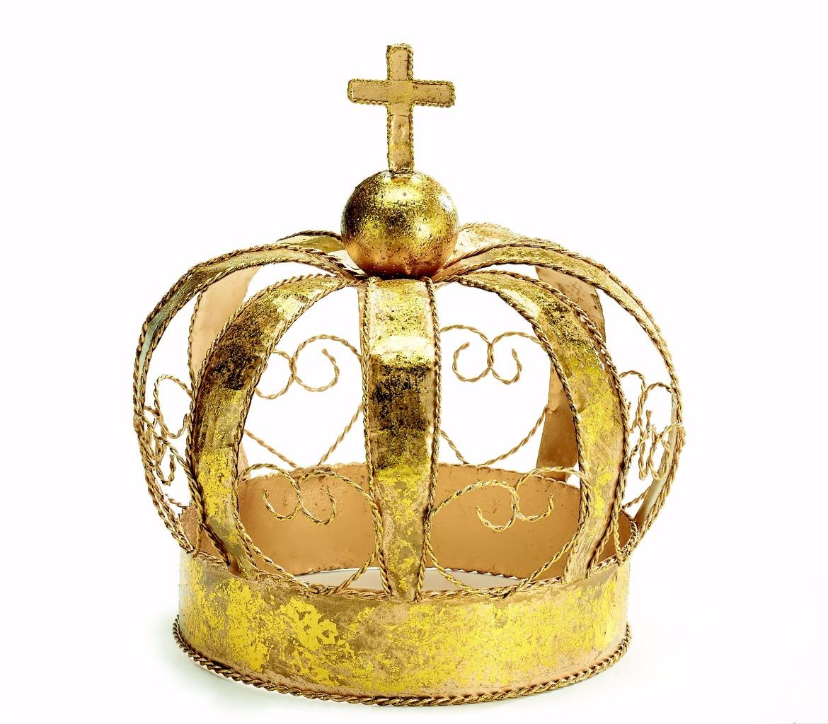 New gold crown metal tabletop christmas decoration small for Small gold christmas ornaments
