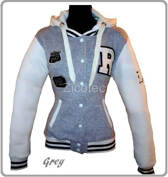 New Ladies R Varsity Baseball Bomber hooded hoodie Womens Jacket Size 8-14