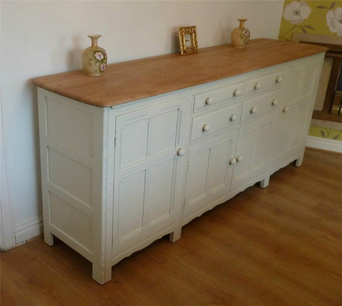 shabby chic large elm ercol sideboard dresser base 7ft. Black Bedroom Furniture Sets. Home Design Ideas