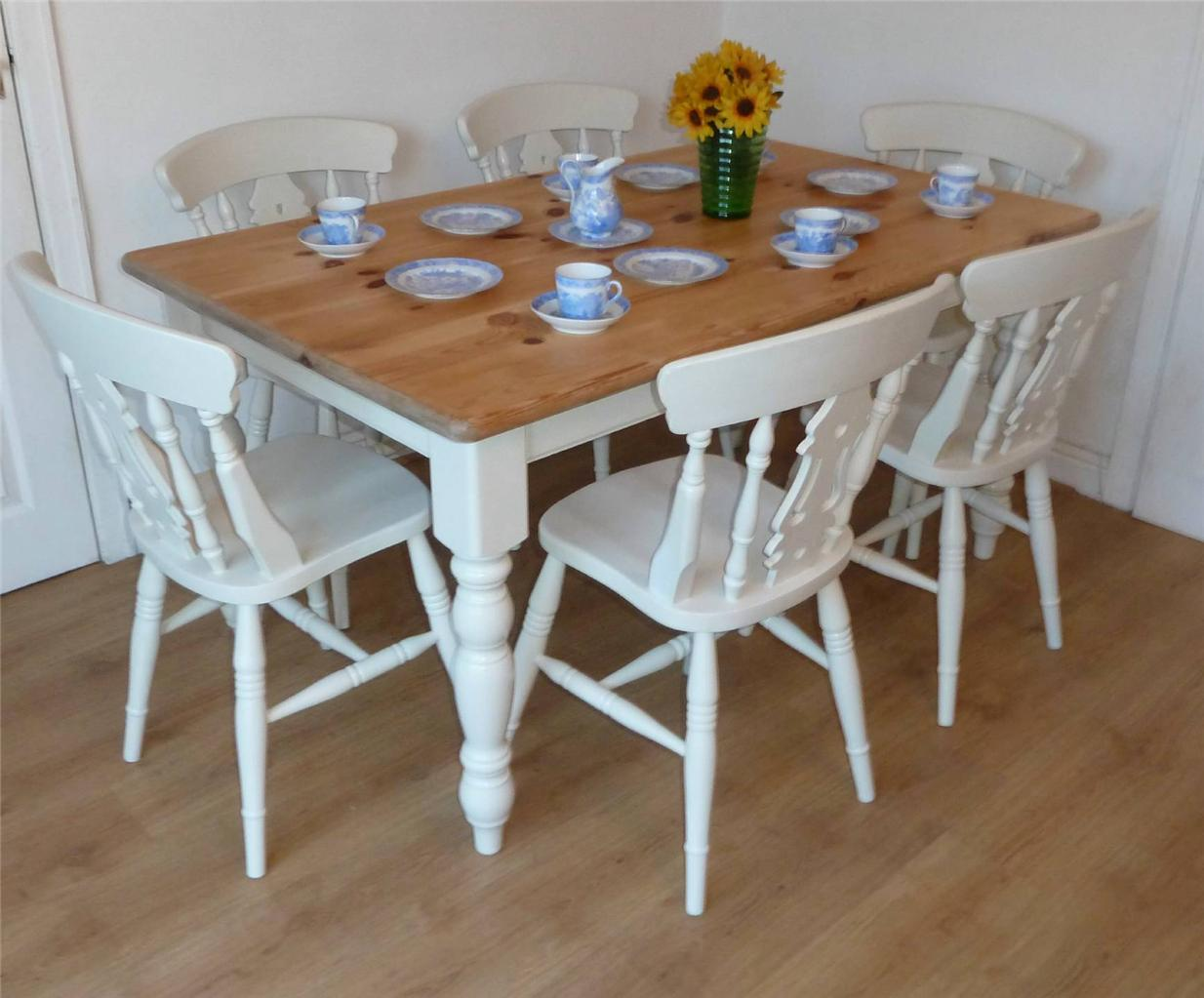 Shabby Chic farmhouse Painted Pine Table and 6 Chairs