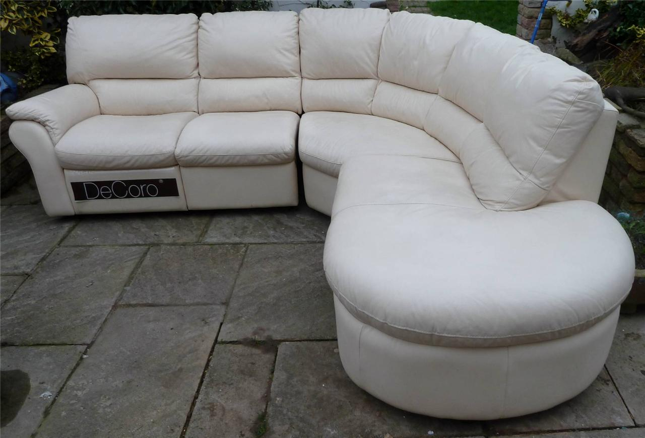 Leather decoro corner chaise end sofa ebay for Chaise end sofas