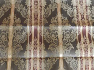 Croscill Olive Burgundy Gold Stripe Fabric Shower Curtain Euc