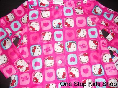 HELLO KITTY Girls 2T 3T 4T Flannel Pjs Set PAJAMAS Shirt Pants PINK