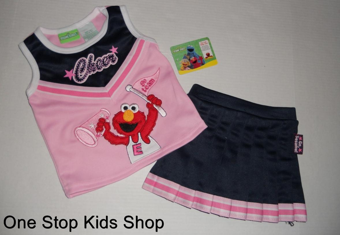 SESAME-STREET-2T-3T-4T-Cheerleader-OUTFIT-Set-Shirt-Skirt-ELMO-or-ABBY-CADABBY