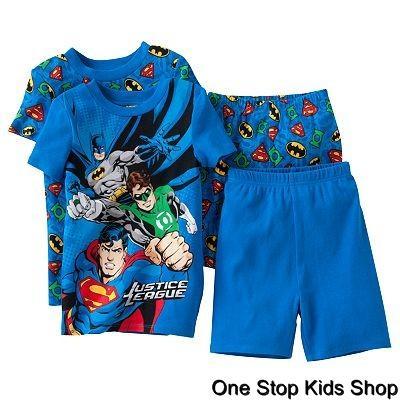 JUSTICE-LEAGUE-Boys-4-6-8-10-Pjs-Set-PAJAMAS-Shirt-BATMAN-Green-Lantern-SUPERMAN