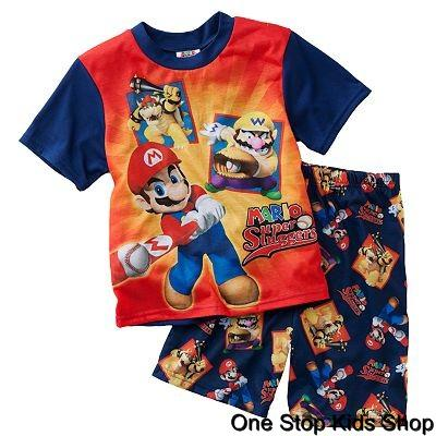 SUPER-MARIO-BROTHERS-Boys-4-6-8-Pjs-Set-PAJAMAS-Shirt-Shorts-BASEBALL-Bowser