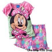 MINNIE-MOUSE-Toddler-Girls-2T-3T-4T-Pjs-Set-PAJAMAS-Shirt-Shorts-DISNEY