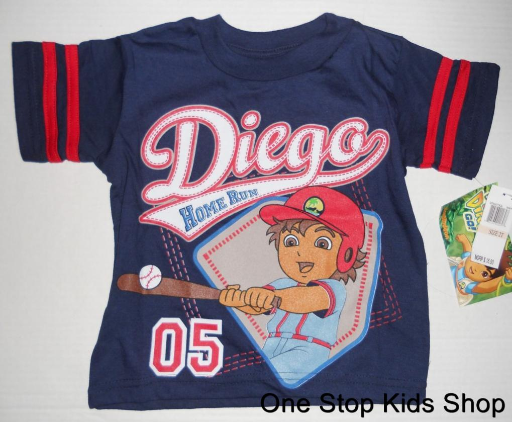 GO-DIEGO-GO-Toddler-Boys-2T-3T-4T-Short-Sleeve-SHIRT-Tee-Top-Baseball-Cheetah