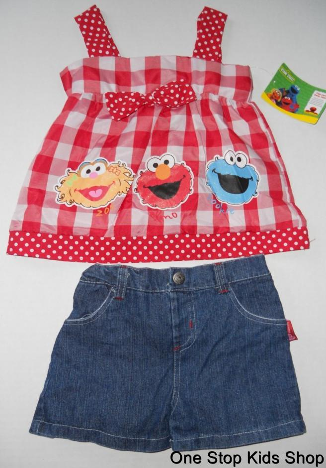 SESAME STREET Toddler Girls 2T 3T 4T Set OUTFIT Shirt