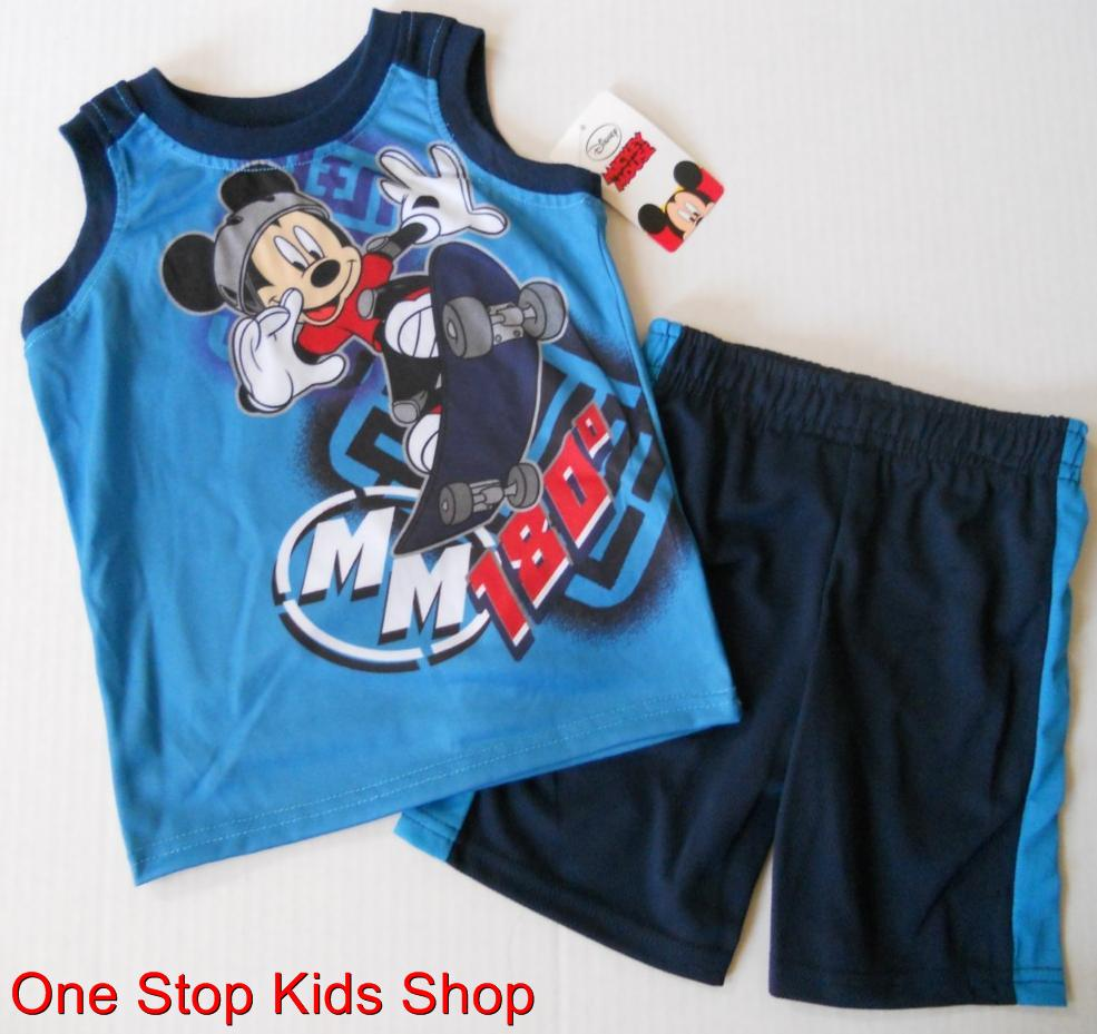 MICKEY-MOUSE-Boys-2T-3T-4T-5T-Set-OUTFIT-Shirt-Shorts-DISNEY-Skateboard