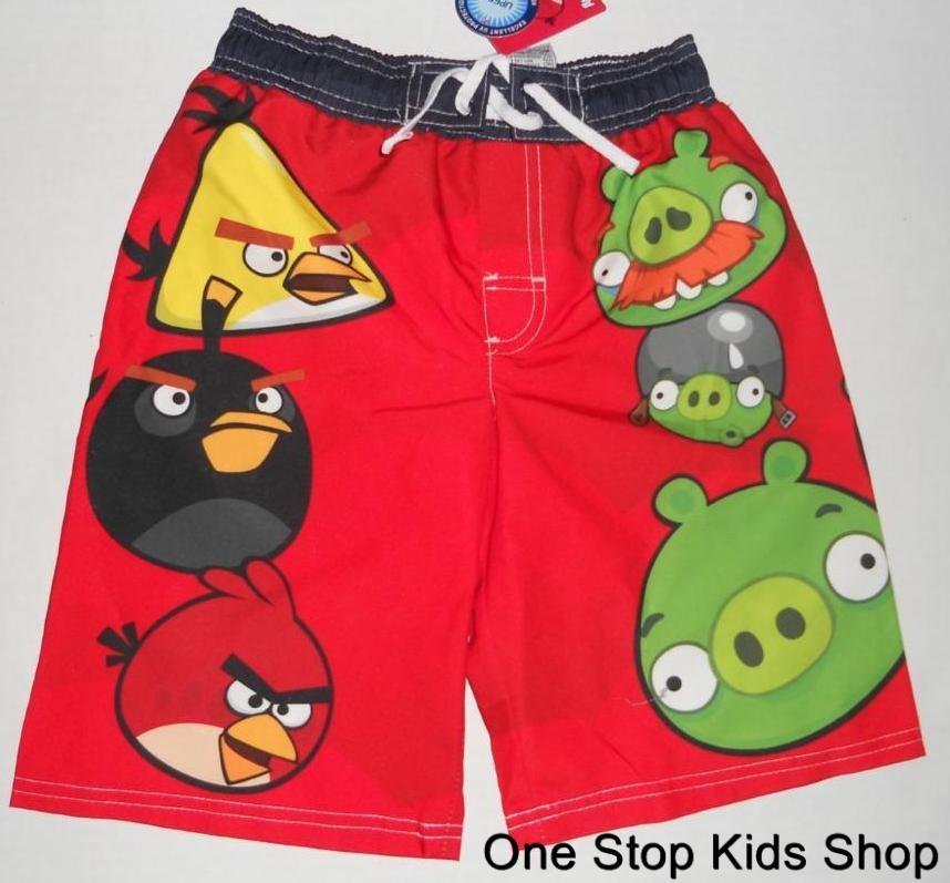 ANGRY-BIRDS-Boys-4-5-6-7-8-10-12-Shorts-SWIM-TRUNKS-Bathing-Suit
