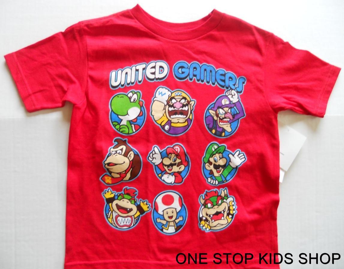 SUPER-MARIO-BROTHERS-Boys-4-5-6-7-Tee-SHIRT-Top-Luigi-YOSHI-Bowser-Kong