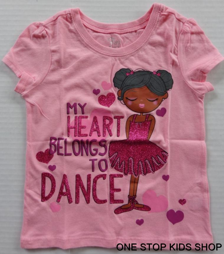 I LOVE DANCE 2T 3T 4T 4 5 6 7 8 10 12 14 Tee SHIRT Top Dancer Dancing Ballet