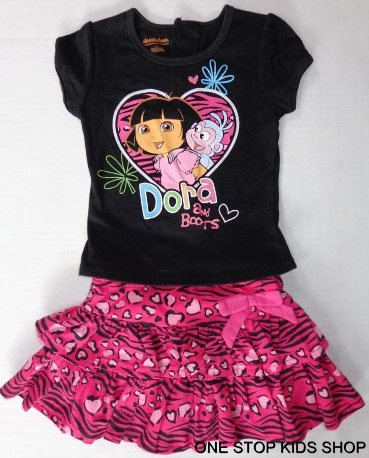 DORA THE EXPLORER Toddler Girls 24 2T 3T 4T 5T Set OUTFIT Shirt Skirt Skort in Clothing, Shoes & Accessories, Baby & Toddler Clothing, Girls' Clothing (Newborn-5T) | eBay
