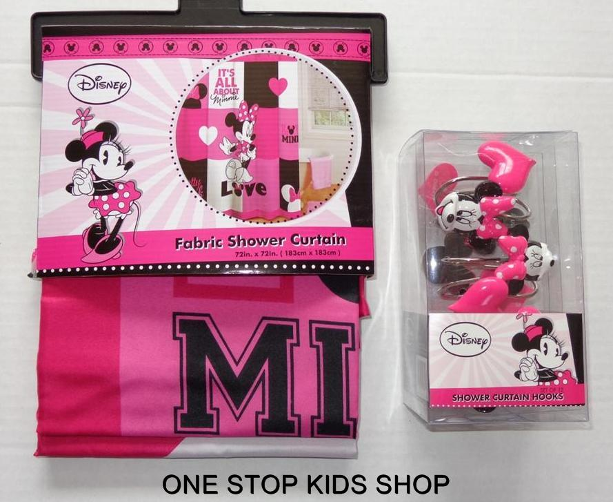 MINNIE MOUSE Fabric SHOWER CURTAIN Or HOOKS Disney