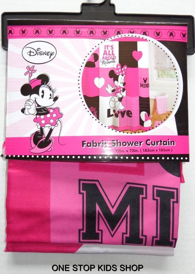 Minnie Mouse Fabric Shower Curtain or Hooks Disney Bathroom Decor