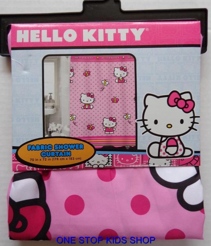 Hello kitty fabric shower curtain or hooks bathroom decor