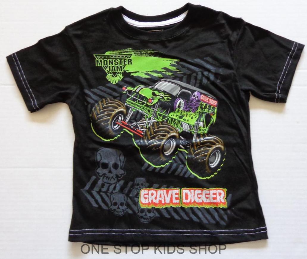 Monster Jam Truck Boys 4 5 6 7 Tee Shirt Top Grave Digger