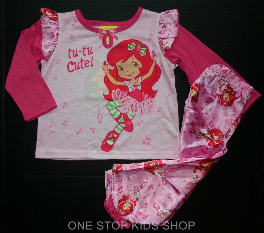 STRAWBERRY SHORTCAKE Girls 2T 3T 4T 4 5 6 6X Pjs Set PAJAMAS Shirt Pants