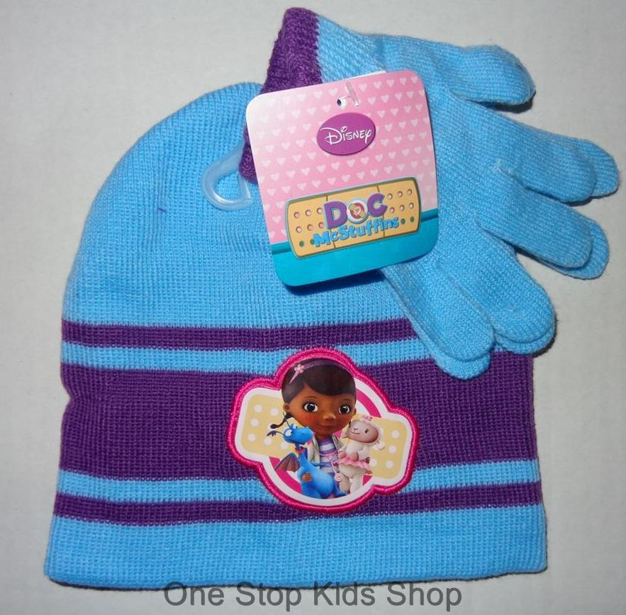 Doc Mcstuffins Toddler Girls Hat Gloves Winter Set Cap