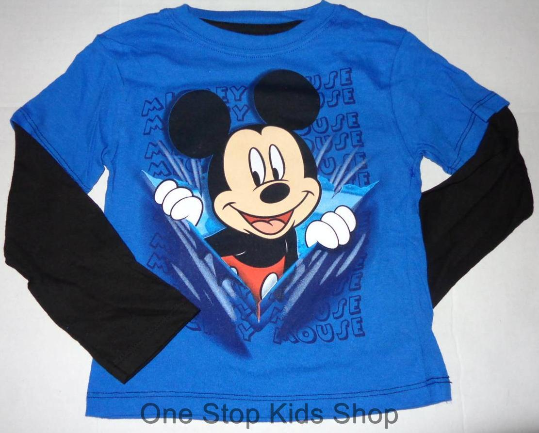 Mickey Mouse Toddler Boys 2t 3t 4t Long Sleeve Tee Shirt