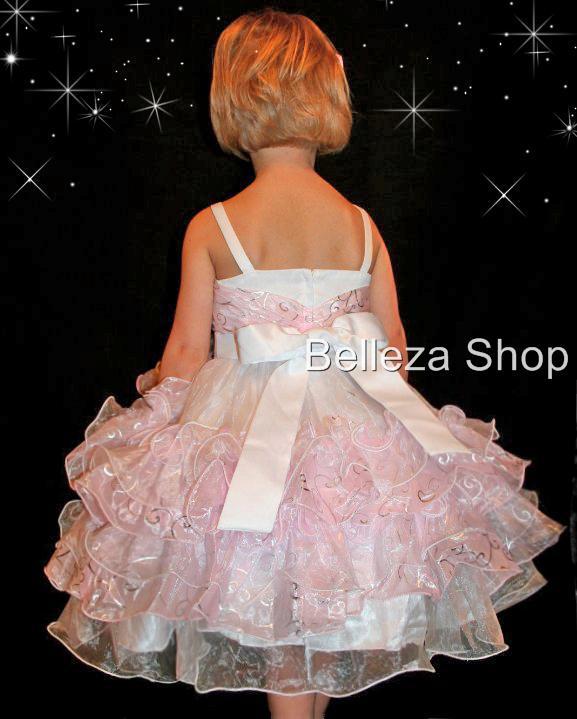 Pink Wedding Flower Girls Party Pageant Dress Sz 5 6 P9