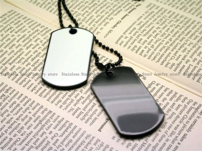 Army Style Black & White 2 Dog Tags Chain Mens Pendant Necklace w