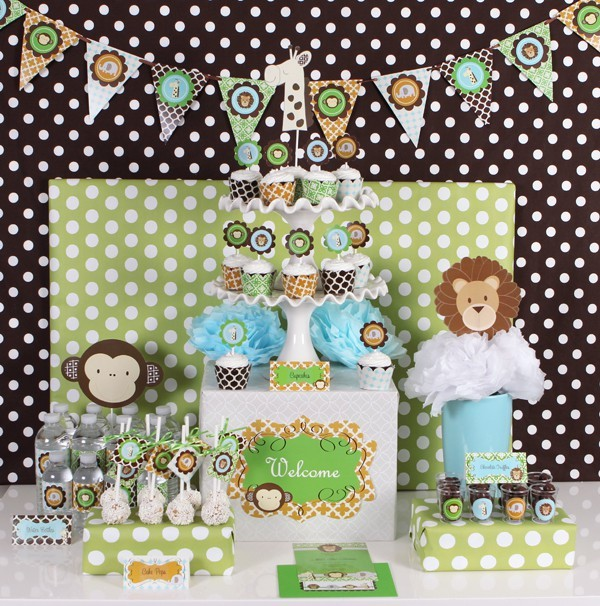 Jungle Safari Kids Birthday Baby Shower Party Kit Supplies for 24