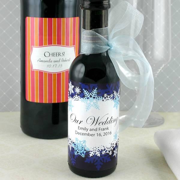 12 personalized wedding bridal shower party favor label for Mini wine bottle wedding favors