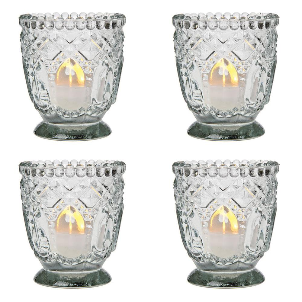 4 vintage hobnail faceted glass tea light candle holder multi colors ebay. Black Bedroom Furniture Sets. Home Design Ideas