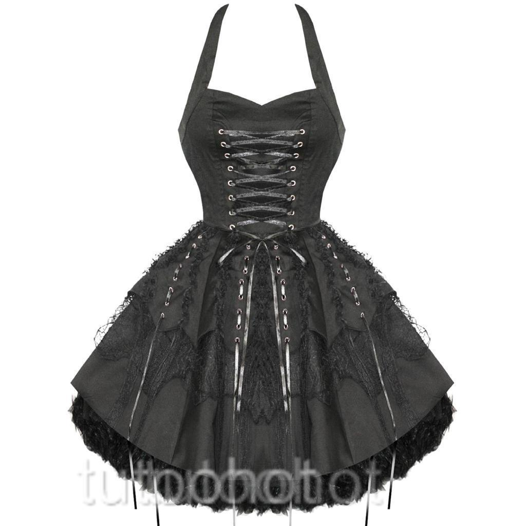 BLACK-GOTHIC-PUNK-LACE-UP-HALTERNECK-DRESS-8-10-12-14-16