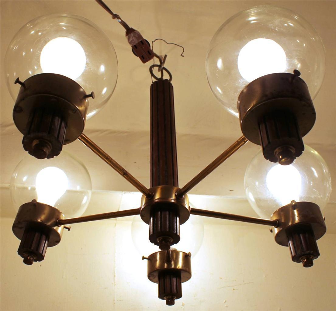 rare vintage brass teak mid century modern hanging ceiling light chandelier ebay. Black Bedroom Furniture Sets. Home Design Ideas